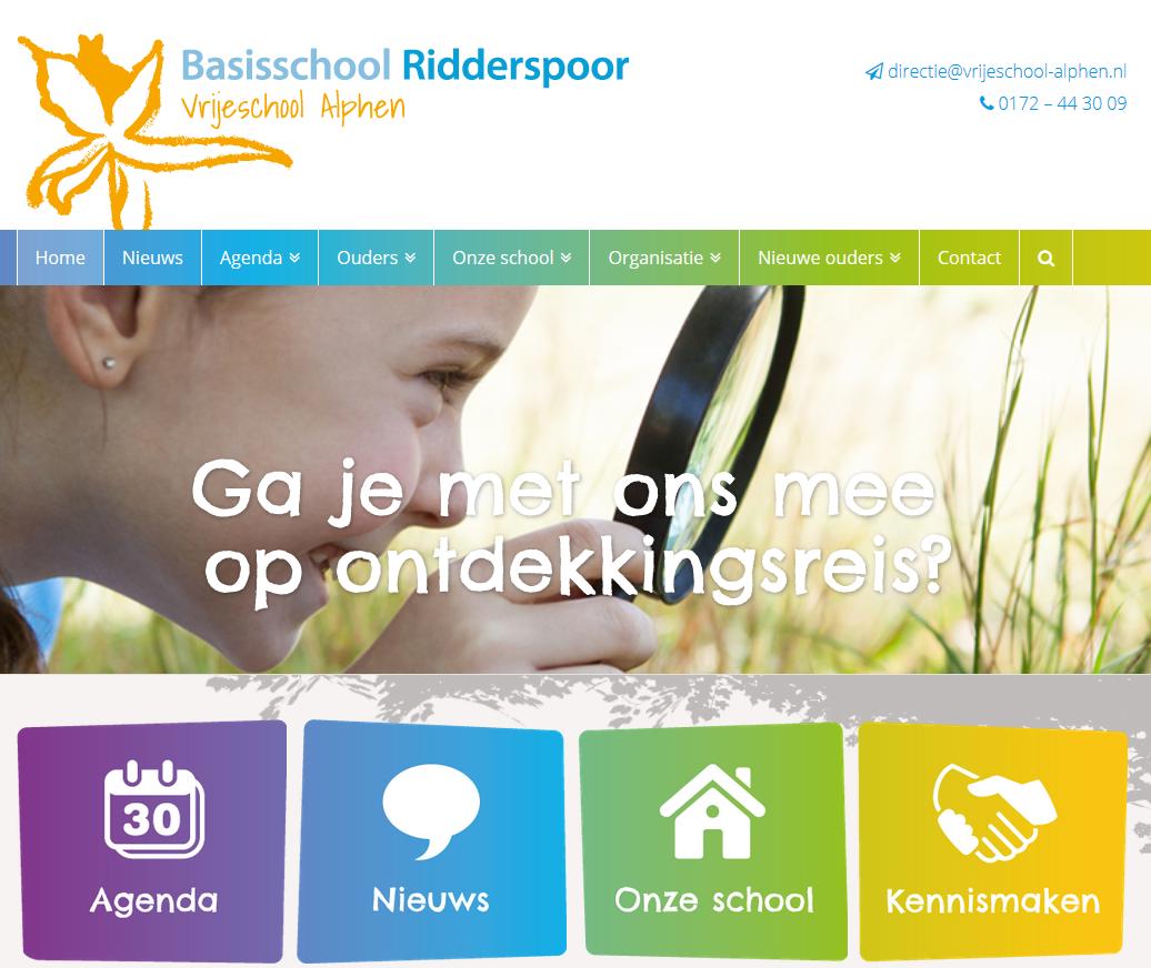 Schermafbeelding nieuwe website Ridderspoor